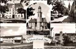 Postcard Vohenstrauß Oberpfalz, Rathaus, Schule, Kreiskrankenhaus, Marktplatz