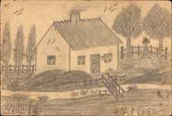 Handgemalt Ak Möres, A., Wohnhaus, Kriegerdenkmal, Fluss
