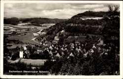 Postcard Eschenbach, Blick über die Stadt vom Berg aus gesehen, Fachwerkhäuser