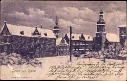 Postcard Riesa an der Elbe Sachsen, Verschneite Stadt, Kirchtürme