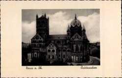Postcard Neuss in Nordrhein Westfalen, Blick auf den Quirinusdom, Fassade, Straße