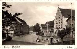 Postcard Dachau in Oberbayern, Blick auf den Stadtplatz mit Rathaus