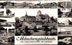 Postcard Mönchengladbach in Nordrhein Westfalen, Kirche, Hochhaus, Brunnen, Tram