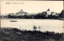 Postcard Vilseck, Flussuferpartie mit Blick auf Schloss, Türme