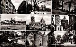 Postcard Neuss in Nordrhein Westfalen, Erftstraße, Kloster, Rennbahn, Münster