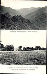 Ansichtskarte / Postkarte Papua Neuguinea, Endroit oè fut célébré la 1re messe, 4 Juillet 1885