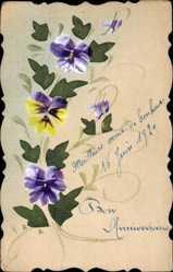 Handgemalt Ak Bon Anniversaire, Glückwunsch, Violette Blüten