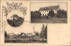 Postcard Oberhummel Langenbach, Blick auf den Ort, Kirche, Haus, Felder