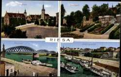 Ak Riesa an der Elbe Sachsen, Rathaus, Stadtpark, Elbbrücke, Landungsplatz