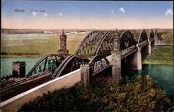 Ansichtskarte / Postkarte Riesa an der Elbe Sachsen, Blick über die Elbbrücke
