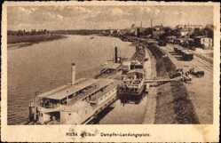 Postcard Riesa an der Elbe Sachsen, Dampferlandungsplatz, Salondampfer Bodenbach
