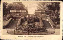 Postcard Riesa an der Elbe Sachsen, Blick auf die Friedrich August Freitreppe