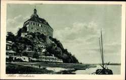 Ansichtskarte / Postkarte Hirschstein Elbe, Partie am Fluss mit Blick aufs Schloss