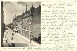 Postcard Riesa an der Elbe Sachsen, Straßenpartie im Ort, Kutsche, Geschäfte
