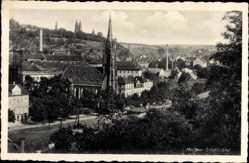 Ansichtskarte / Postkarte Meißen Triebischtal in Sachsen, Bennokirche, Domtürme, Porzellanmanufaktur