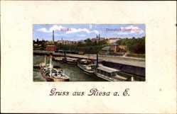 Postcard Riesa an der Elbe Sachsen, Blick auf den Dampfschifflandeplatz
