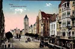 Ak Poznań Posen, St. Martinskirche und Schloss, Turmuhr