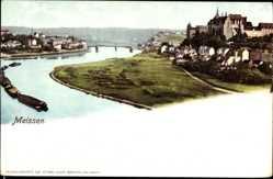 Ansichtskarte / Postkarte Meißen, Elbpartie mit Burgberg, Albrechtsburg, Dom