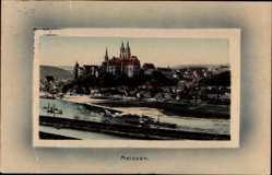 Passepartout Ak Meißen, Elbpartie mit Albrechtsburg