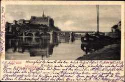 Ansichtskarte / Postkarte Meißen, Elbpartie mit Brücke, Albrechtsburg und Dom