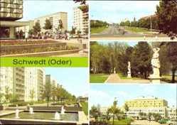 Postcard Schwedt an der Oder, Platz der Befreiung, Leninallee, Park am Kulturhaus