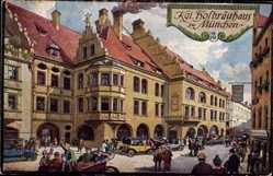 Künstler Ak Quidenus, Fritz, München Bayern, Blick auf Kgl. Hofbräuhaus, Panzer