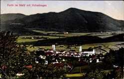 Postcard Furth im Wald Oberfpalz Bayern, Blick auf den Ort mit Hohenbogen