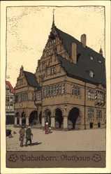 Steindruck Ak Paderborn in Nordrhein Westfalen, Blick auf das Rathaus