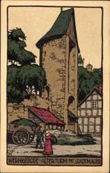Steindruck Ak Wernigerode am Harz, Alter Turm mit Stadtmauer