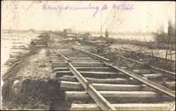 Foto Ak Skopje Mazedonien, Überschwemmung 1916, Zerstörte Gleise