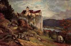 Künstler Ak Brand, Riedenburg, Schloss Prunn im Altmühltal
