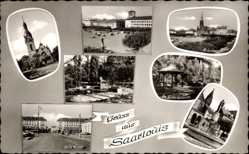 Postcard Saarlouis, St. Ludwigskirche, Marienbrunnen, Ludwigspark, Marktplatz