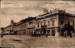 Postcard Pancsova Serbien, Blick in die Rakoczi Gasse, Kutsche, Geschäfte