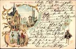 Lithographie Paris, Exposition de 1900, Weltausstellung, Historische Kostüme, Tracht