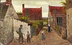 Künstler Ak Gerstenhauer, Dorfpartie, Frau mit Wassereimern, Kinder