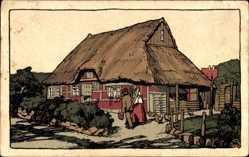 Steindruck Ak Schlesig Holstein, Blick auf ein Bauernhaus mit Reetdach