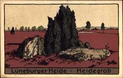 Steindruck Ak Lüneburger Heide, Blick auf ein Heidegrab, Felsen