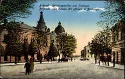 Postcard Belgrad Serbien, Offizierspavillon und Zadruga, Straßenpartie