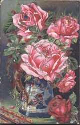 Präge Glitzer Ak Glückwunsch Neujahr, Rosen in einer Vase