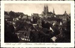 Ansichtskarte / Postkarte Meißen in Sachsen, Blick über Altstadt, Stadtkirche und Burg