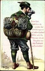 Leporello Künstler Ak Thiele, Arthur, Brotterode Trusetal in Thüringen, Wanderer