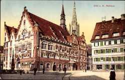Postcard Ulm an der Donau Baden Württemberg, Blick auf das Rathaus, Brunnen