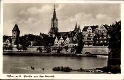 Postcard Ulm an der Donau Baden Württemberg, Flusspartie mit Blick auf den Ort