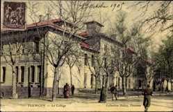 Postcard Tlemcen Algerien, Le College, Straßenpartie mit Blick auf Schule