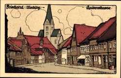 Steindruck Ak Friedland in Mecklenburg, Blick in die Kaiserstraße, Kirche