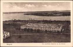 Postcard Belgrad Serbien, Die zerstörten Kasernen an der Donau