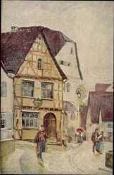 Künstler Ak Marbach in Baden Württemberg, Blick auf Schillers Geburtshaus
