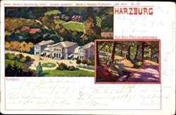 Künstler Ak Bahndorf, Bad Harzburg in Niedersachsen, Kurhaus, Philosophenweg