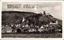 Postcard Beilstein Württemberg, Totalansicht der Ortschaft, Burgruine, Gedicht