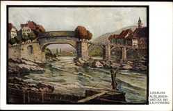 Künstler Ak Liebmann, Laufenburg am Hochrhein Kreis Waldshut, Alte Rheinbrücke